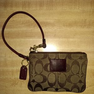 Coach Small Signature Legacy Brown Wristlet